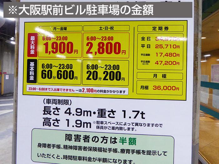大阪駅前ビル駐車場の駐車料金