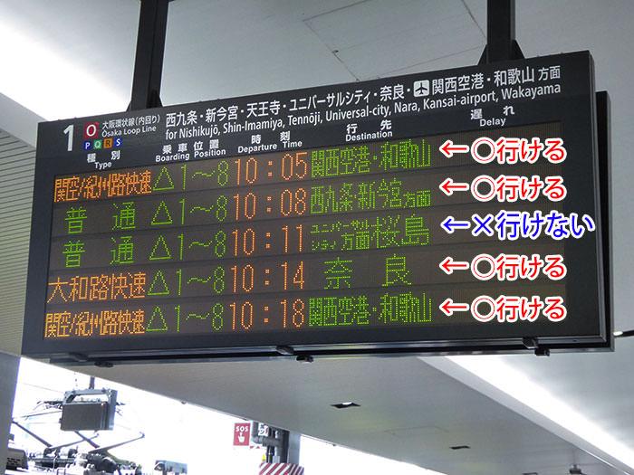 JR大阪駅の行き先表示