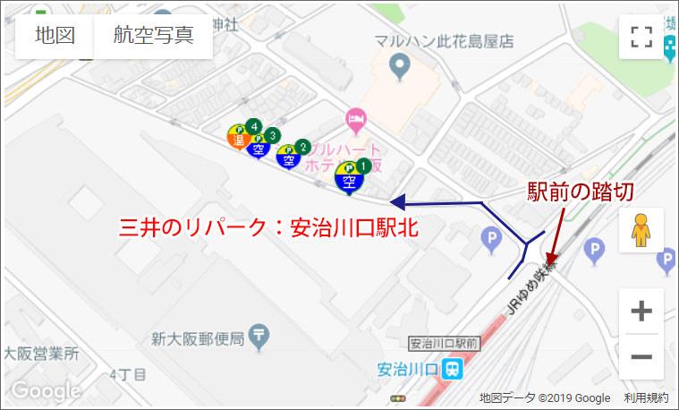 三井のリパーク安治川口駅北の場所