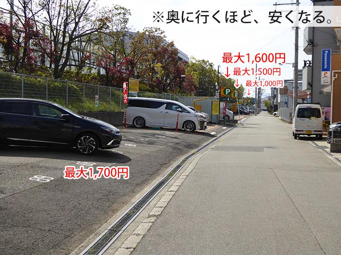 三井のリパーク安治川口駅北の駐車場群